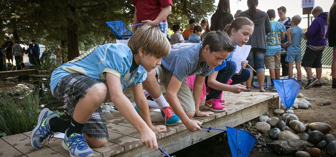 Students at creek